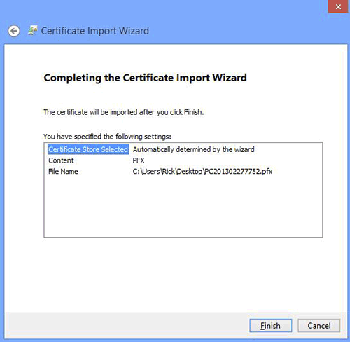 Chrome Import Certificate Wizard Completion
