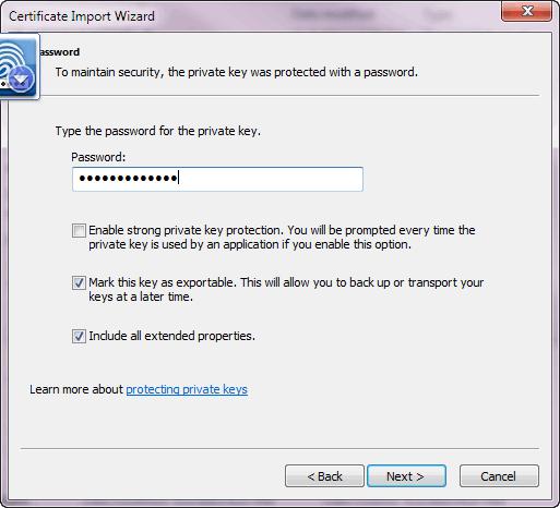 Certificate Import Wizard - Password