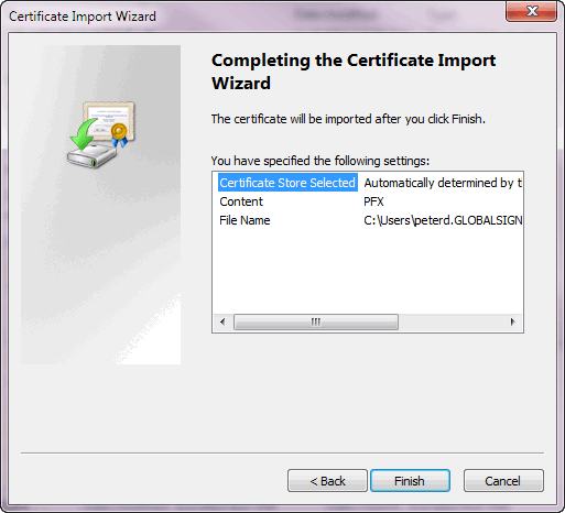 Certificate Import Wizard - Finish Import