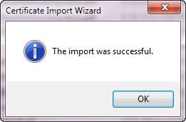 Certificate Import Wizard - Successful Install