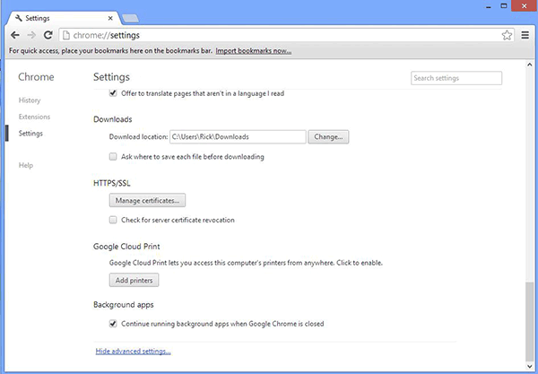 Google Chrome Advanced Settings