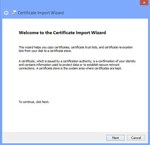 Google Chrome Certificate Import Wizard