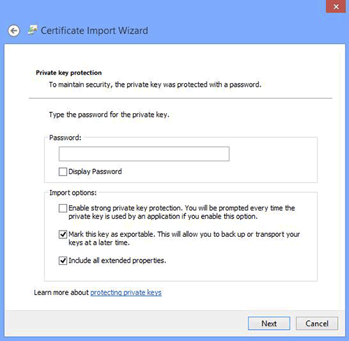 Chrome Certificate Import Wizard Password