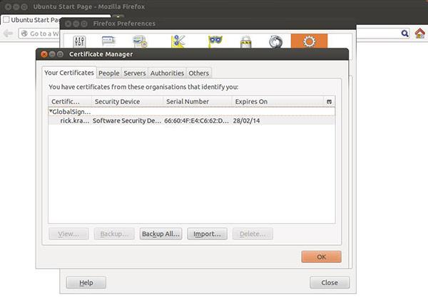 Linux Ubuntu Certificate Installed