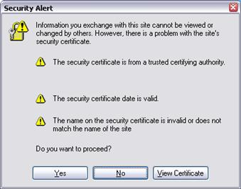Security Alert Name of Certificate