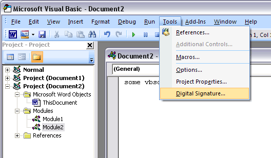 Click Digital Signature in Tools Drop Down