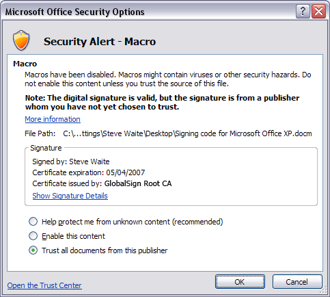 Microsoft Office Security Options