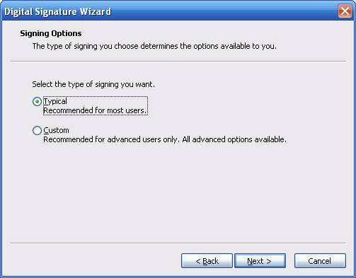 Timestamping Digital Signature Wizard Signing Options