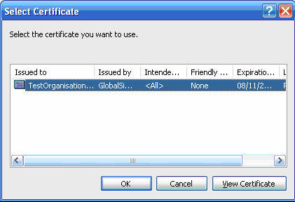 Timestamping Digital Signature Wizard Select Certificate