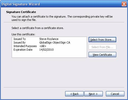 Timestamping Digital Signature Wizard Next