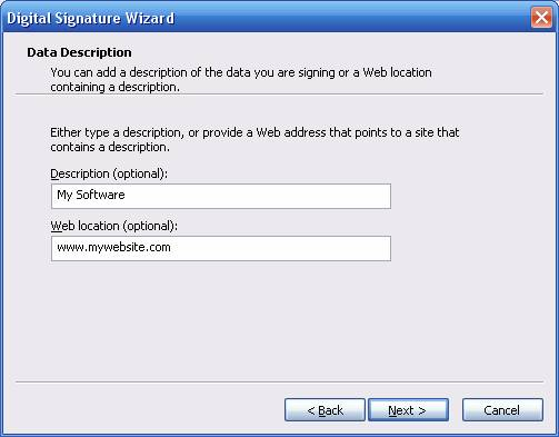 Timestamping Digital Signature Wizard Descripton or Web Location