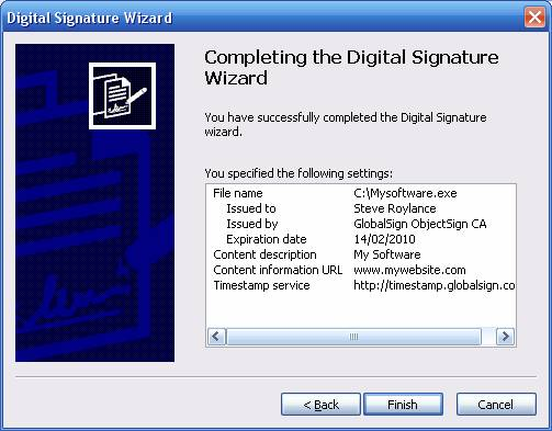Timestamping Digital Signature Wizard Finish