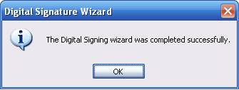 Timestamping Digital Signature Wizard Completed