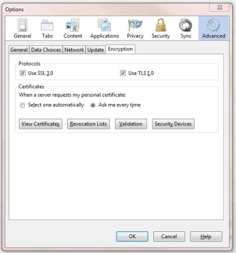 Firefox Digital ID Export Advanced