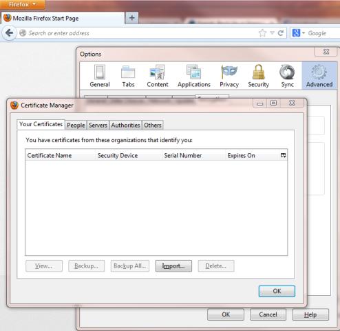 Firefox Digital ID View Certificates