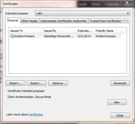 Internet Explorer Export Select Certificate