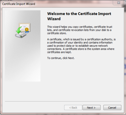 Internet Explorer Certificate Import Wizard