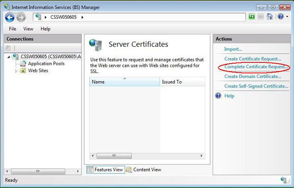 IIS 7 Server Certificate Request