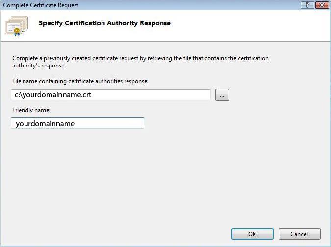 IIS 7 Complete Certificate Request Wizard