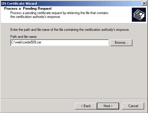 Microsoft Exchange 2003 IIS Certificate Wizard  Locate File