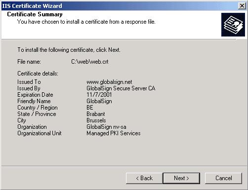 Microsoft Exchange 2003 IIS Certificate Wizard Summary