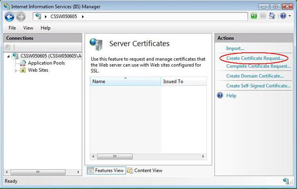 IIS 7 Create Certificate Request