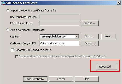 Add Identity Certificate
