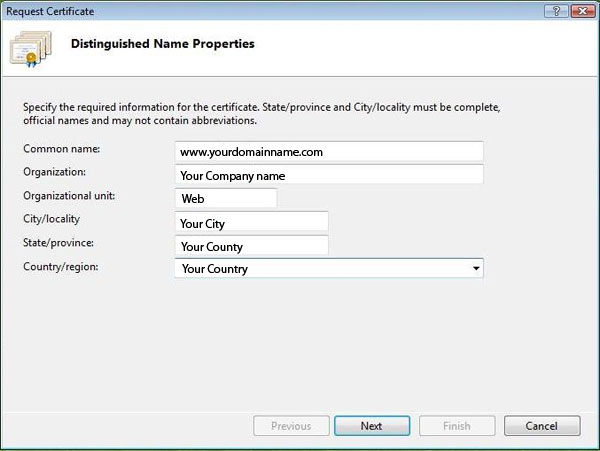 IIS 7 Distinguished Name Properties