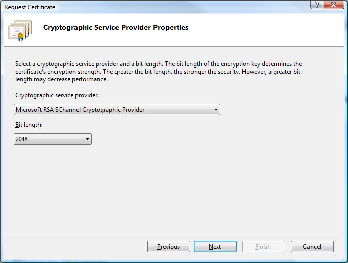 IIS 7 Cryptographic Service Provider Properties Default Settings