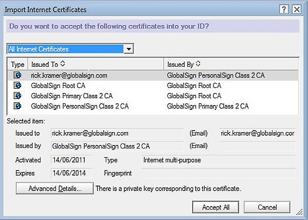 Import Internet Certificates