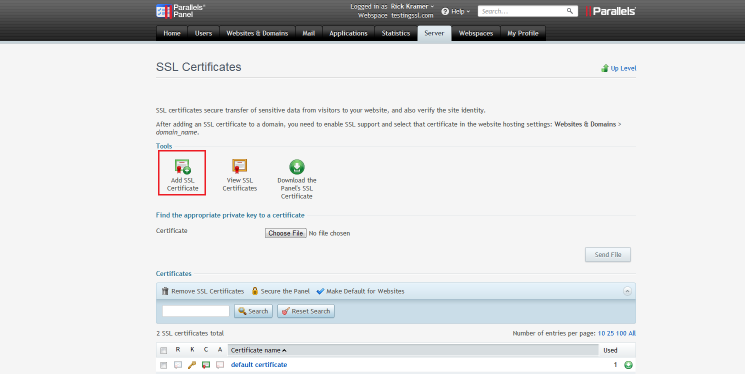 Add SSL Certificate