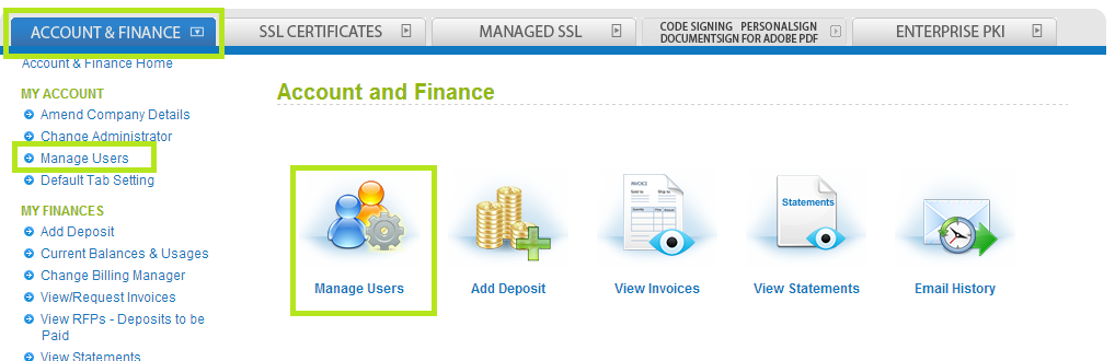 Account and Finance Tab