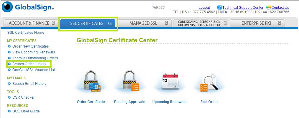 SSL Certificate Tab