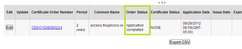 Order Status Column