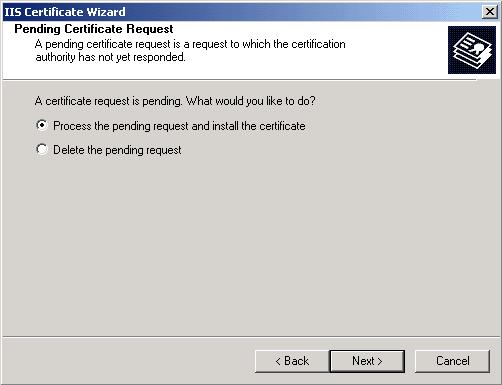 Pending Certificate Request