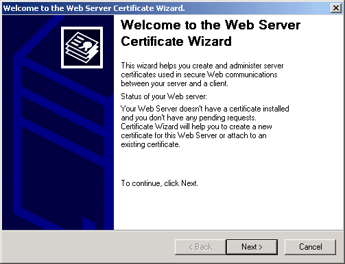 Web Server Certificate Wizard