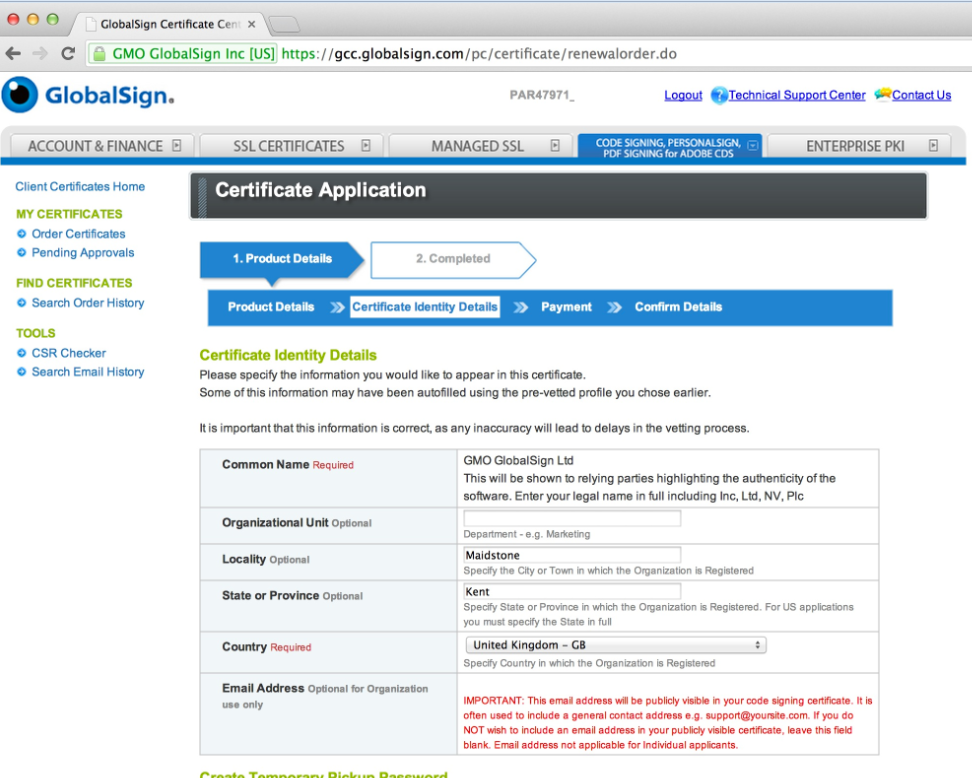 Provide Certificate Details