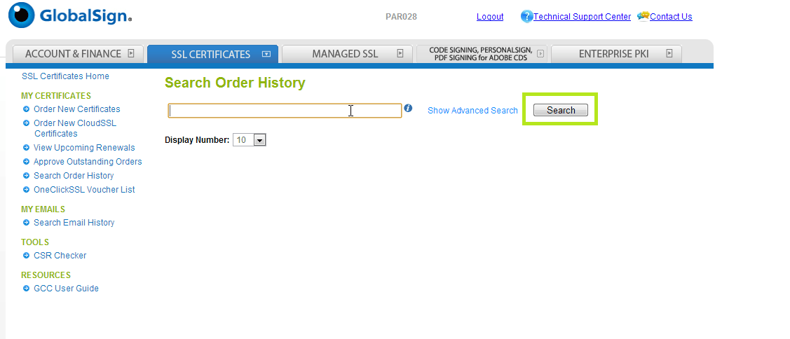 Search Order History