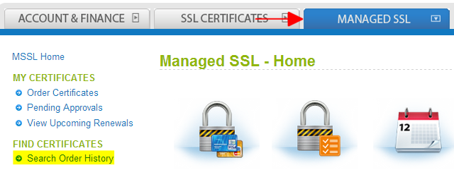 Managed SSL Tab