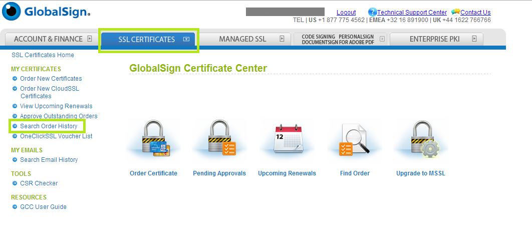 SSL Certificates Tab
