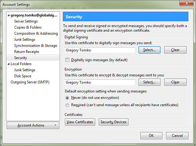 Choose Encryption Certificate