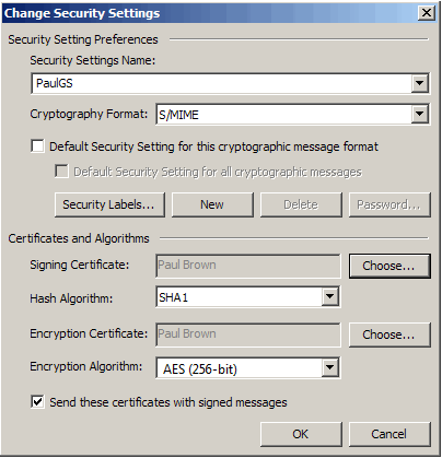 Security Settings Name