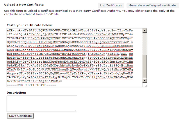 Paste in Certificate