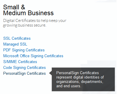 Order Certificate - PersonalSign Certificates