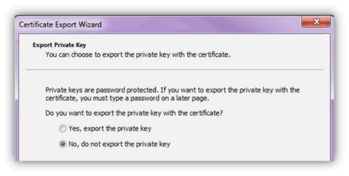 Do Not Export Private Key
