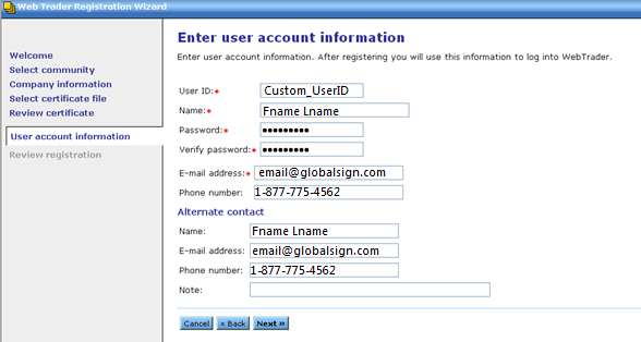 Enter Account Info