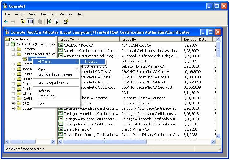 Update Globalsign Root Certificate Win