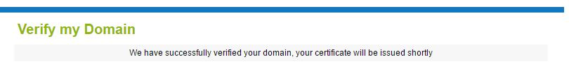 Successfully Verified Domain