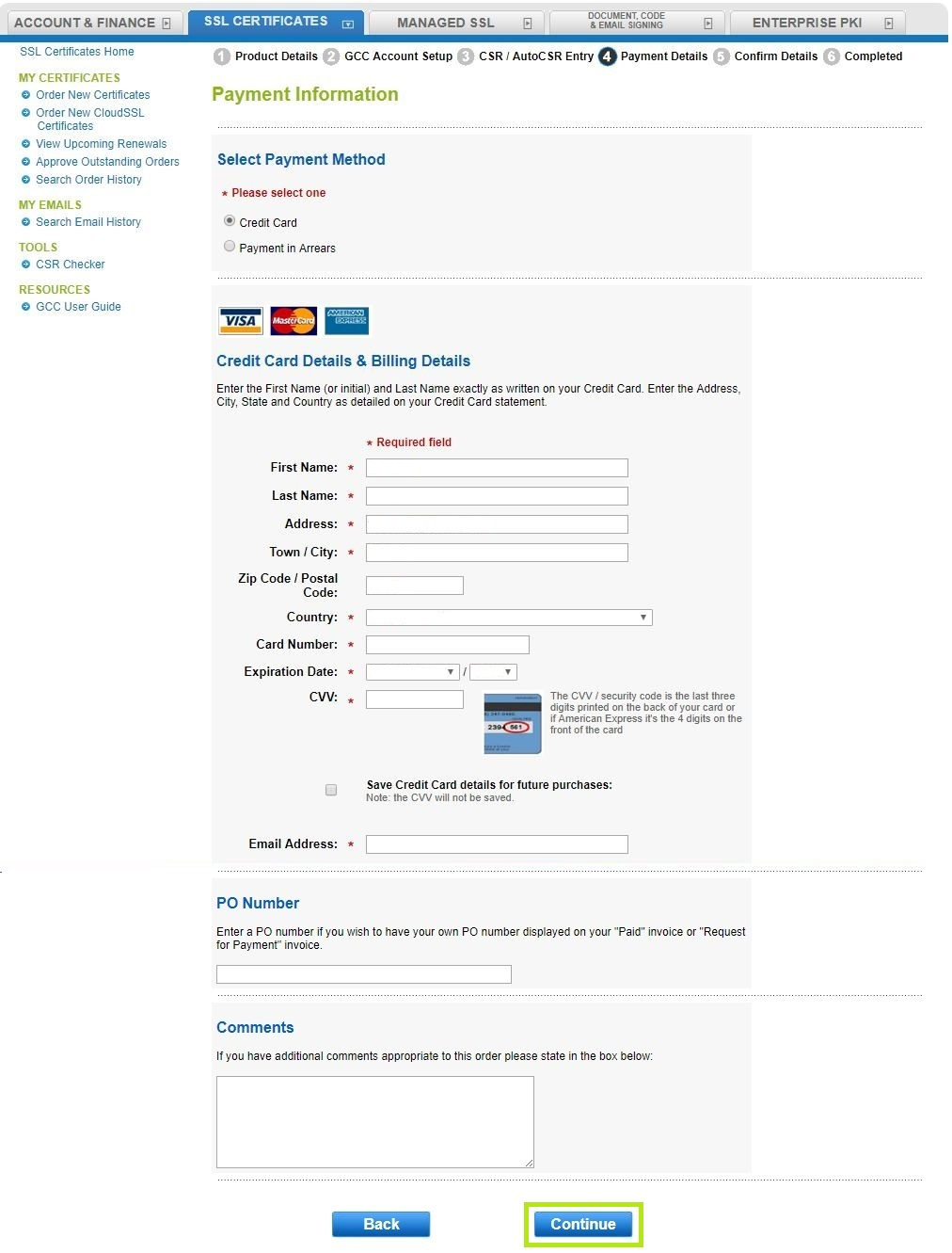 How to transfer an ssl certificate select a payment method and the click continue xflitez Images