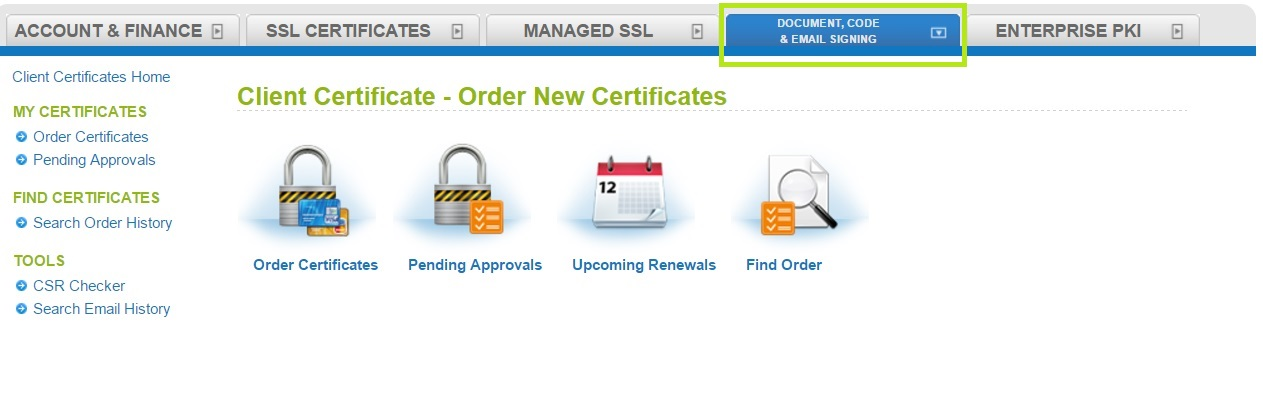 How to Order a New Client Certificate